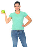 Example Of Diet. Diet concept. a woman holding green apple on her right hand. isolated on white royalty free stock photos