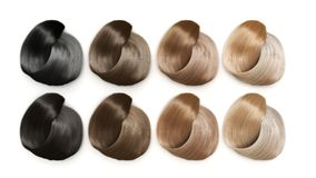 Example of different hair colors 3d render on white. Example of different hair colors 3d render Royalty Free Stock Photo