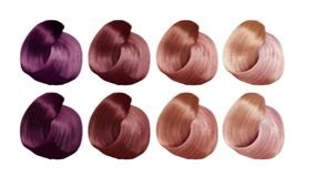 Example of different hair colors 3d render on white no shadow. Example of different hair colors 3d render on white no Royalty Free Stock Image