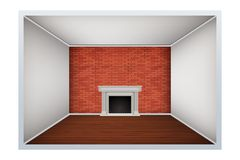 Empty room with brick wall and fireplace. Example of an empty room with brick wall and fireplace. Simple interior without furnish and furniture. Imitation of Stock Photo