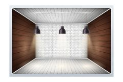 Example of empty room with brick wall royalty free illustration