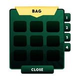 An example of the game box bag with empty cells for in game items and resources for computer and mobile games. Open gaming backpac. K for green artifacts. Vector Royalty Free Stock Images