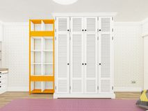 Wall with bookcase and wardrobe. 3d rendering Stock Photography
