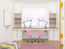 Girl`s room - cozy workplace. 3d rendering Royalty Free Stock Photo