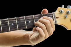 Example for the guitar chords isolate on black background.A Majo Royalty Free Stock Image