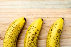 Overripe bananas on a table. Example of how overripe bananas looks stock photo