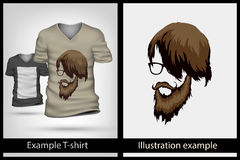 Example illustration on T-shirt. Stock Photo