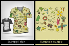 Example illustration on T-shirt. Stock Photos