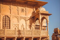 Example of Indian architecture with details of facade of historical house, walls, balcony and traditional elements Royalty Free Stock Images