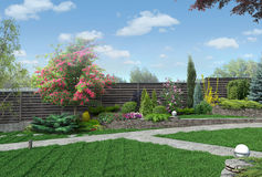 Example of multi level gardening, 3D render. Natural character of the site into the design. Trees and shrubs of various shapes and sizes Royalty Free Stock Image