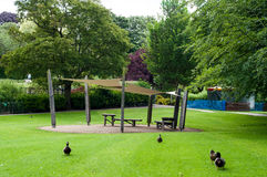 Example of a park, Abey gardens, Bury St Edmunds, Suffolk, UK. Visitors sitting area in Abbey garden Stock Images