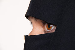Example picture Islam. Muslim burqa is with obscured royalty free stock photo