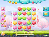 Example of the playing field on the theme of Valentine's Day. Example of the playing field and gather three in a row and the interface for a computer game Royalty Free Stock Image