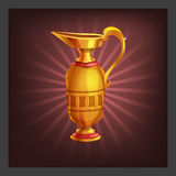 Example of receiving the cartoon golden achievement ancient jug for game screen. Stock Photo