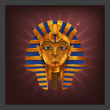 Example of receiving the cartoon golden achievement Egyptian pharoah figurine for game screen. Vector illustration Royalty Free Stock Photos