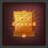 Example of receiving the cartoon golden achievement Egyptian plate with mural for game screen. Stock Photos
