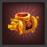 Example of receiving the cartoon golden achievement pig figurine for game screen. Vector illustration Stock Images