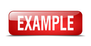 Example red square 3d realistic web button Stock Photography