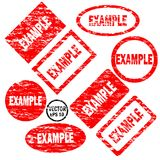 Example set of red round and square rubber stamps stock illustration