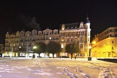 Example of spa architecture in winter - Marianske Lazne Marienbad - Czech Republic Royalty Free Stock Images