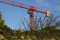 An example of a Static Tower Crane in use on a construction project at Ballyholme County Down Northern Ireland in January 2018 royalty free stock image