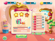 Example of the user interface of a computer game. Window complet. E a level Stock Photo