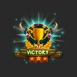 Example user interface of game receiving the achievement. Window victory with golden cup. Vector illustration Stock Photo