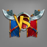 Example user interface of game. Window victory with coat of arms. Royalty Free Stock Image