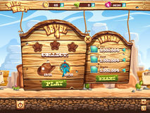 Example of window to pass the task level in game Wild West Royalty Free Stock Images