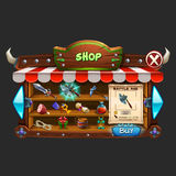 Example of wooden board user interface of game. Window shop and game icons. Vector illustration Royalty Free Stock Photography