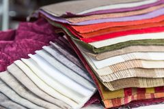 Examples of fabric Stock Photo