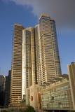 Exangevierkant de Internationale Wolkenkrabber van de het Centrumhorizon van het Financiëncentrum IFC Complexe Hong Kong Admirlty Royalty-vrije Stock Afbeelding