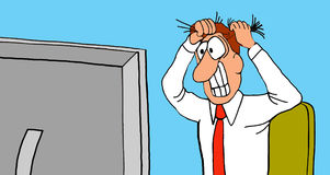Exasperated. Business cartoon illustration showing a business man pulling his hair out as he looks at his computer screen Royalty Free Stock Image