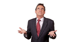 Exasperated Business Man in Suit Raisining Eyes Stock Images