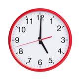 Exatamente cinco na face do relógio redonda Imagem de Stock