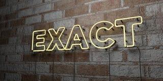 EXATO - Sinal de néon de incandescência na parede da alvenaria - 3D rendeu a ilustração conservada em estoque livre dos direitos ilustração royalty free