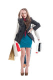 Exausted shopping girl Royalty Free Stock Image