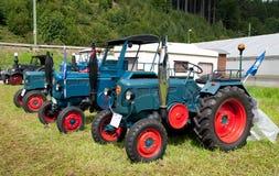 Exbition van oude landbouwmachines in Schwarzenberg Stock Foto