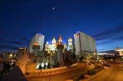 Excalibur Hotel and Casino, Excalibur Hotel and Casino, Excalibur Hotel and Casino, landmark, night, cityscape, city. Excalibur Hotel and Casino, Excalibur Hotel stock photo