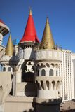 Excalibur Hotel in Las Vegas. Nevada. USA. The colorful Turrets, crenellated Battlements and Towers of the Excalibur Hotel. Its a Casino and Resort on the famous Stock Images