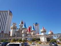 Excalibur hotell och spårvagnväg Las Vegas Arkivfoton