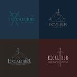 Excalibur outline Insignias and Logotypes set. Vector design ele Stock Photos