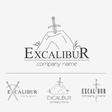 Excalibur outline Insignias and Logotypes set. Vector design ele Royalty Free Stock Photo