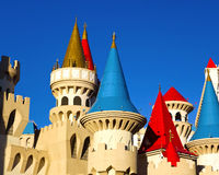 Excalibur resort Las Vegas, details. The fantasy turrets atop the Excalibur hotel-casino, modelled after medieval fairy tale castles.  Landmark along the world Stock Images