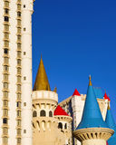 Excalibur resort Las Vegas. The fantasy turrets atop the Excalibur hotel-casino, modelled after medieval fairy tale castles.  Landmark along the world famous Las Stock Photography
