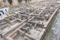 Excavación de los cuartos de los soldados de Alhambra Fotos de archivo