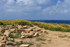 Excavaciones arqueológicas en Chipre Opinión del mar Imágenes de archivo libres de regalías