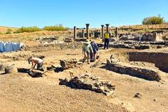 Excavaciones arqueológicas en Roman Sisapo City, La provincia de Bienvenida, Ciudad Real, España Imágenes de archivo libres de regalías