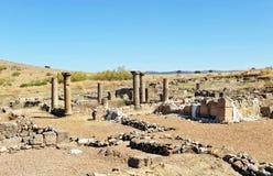 Excavaciones arqueológicas en Roman Sisapo City, La provincia de Bienvenida, Ciudad Real, España Imagen de archivo libre de regalías
