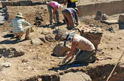 Excavaciones arqueológicas en Roman Sisapo City, La provincia de Bienvenida, Ciudad Real, España Fotos de archivo